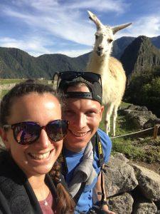 Selfie mit Lama, Machu Picchu, Cusco, Peru