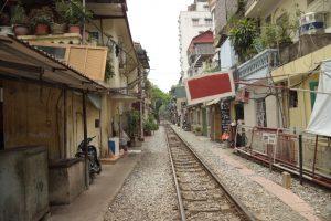 Hanoi, Old Quartier, Bahnstrecke, Zuggleiße, Vietnam